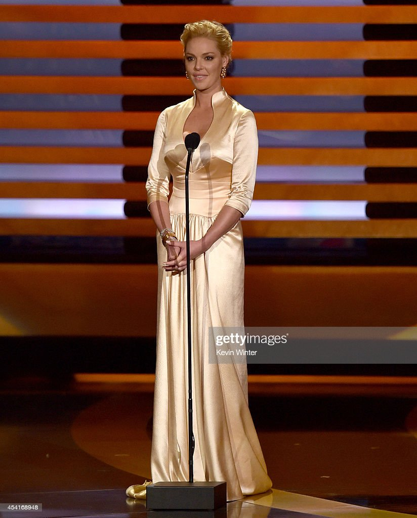 Actress <a gi-track='captionPersonalityLinkClicked' href=/galleries/search?phrase=Katherine+Heigl&family=editorial&specificpeople=206952 ng-click='$event.stopPropagation()'>Katherine Heigl</a> speaks onstage at the 66th Annual Primetime Emmy Awards held at Nokia Theatre L.A. Live on August 25, 2014 in Los Angeles, California.