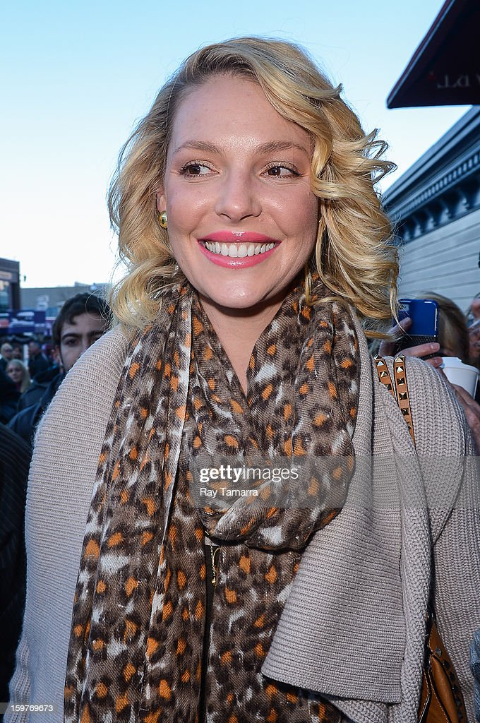 Actress Katherine Heigl walks in Park City on January 19, 2013 in Park City, Utah.