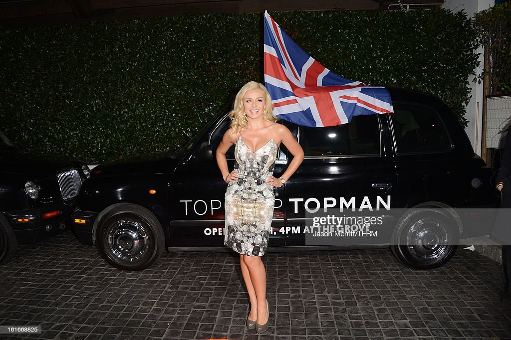 Actress Katherine Jenkins arrives at the Topshop Topman LA Opening Party at Cecconi's West Hollywood on February 13, 2013 in Los Angeles, California.