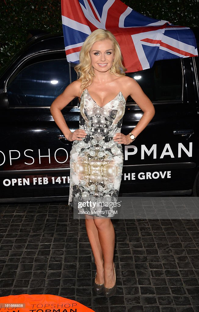 Actress <a gi-track='captionPersonalityLinkClicked' href=/galleries/search?phrase=Katherine+Jenkins&family=editorial&specificpeople=204776 ng-click='$event.stopPropagation()'>Katherine Jenkins</a> arrives at the Topshop Topman LA Opening Party at Cecconi's West Hollywood on February 13, 2013 in Los Angeles, California.