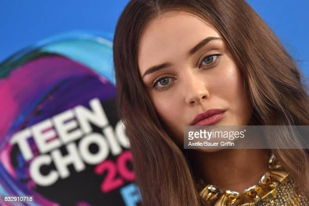 Actress Katherine Langford arrives at the Teen Choice Awards 2017 at Galen Center on August 13 2017 in Los Angeles California