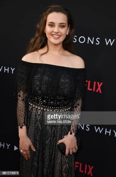 Actress Katherine Langford arrives for the premiere Of Netflix's '13 Reasons Why' at Paramount Pictures Studio in Los Angeles California on March 30...