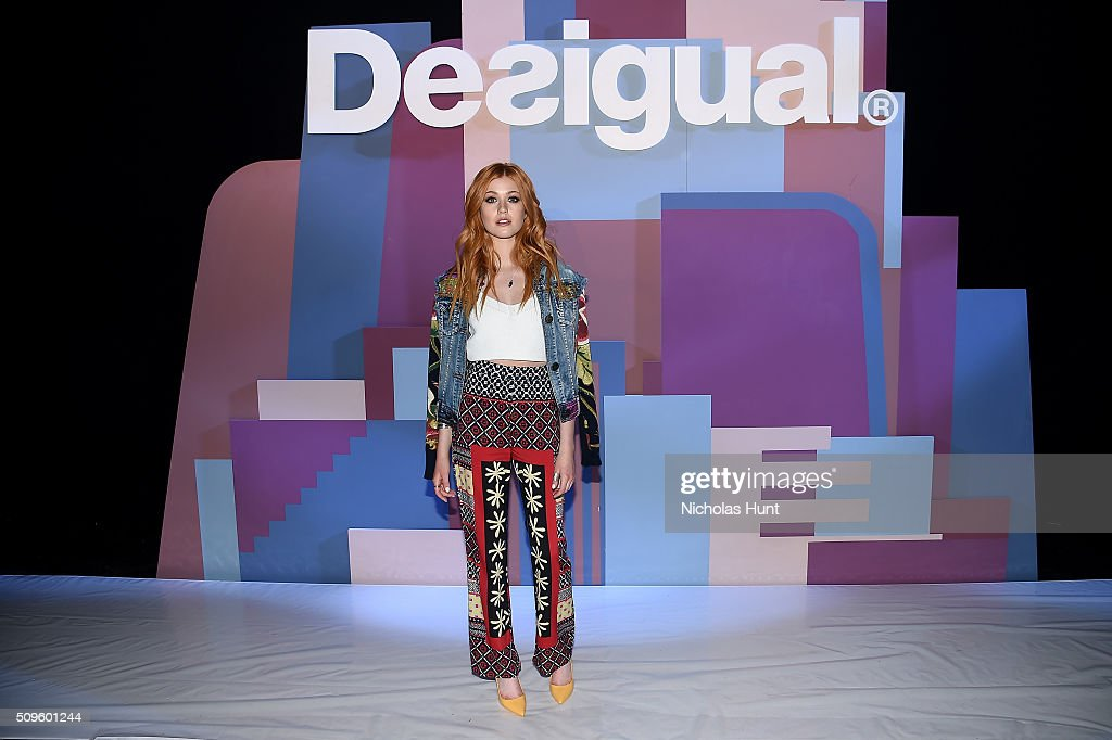 Actress <a gi-track='captionPersonalityLinkClicked' href=/galleries/search?phrase=Katherine+McNamara&family=editorial&specificpeople=6829207 ng-click='$event.stopPropagation()'>Katherine McNamara</a> attends Desigual fashion show during Fall 2016 New York Fashion Week: The Shows at The Arc, Skylight at Moynihan Station on February 11, 2016 in New York City.