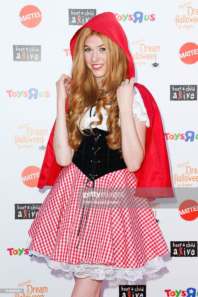 Actress Katherine McNamara attends the 2012 'Dream Halloween' presented by Keep A Child Alive at Barker Hangar on October 27, 2012 in Santa Monica, California.
