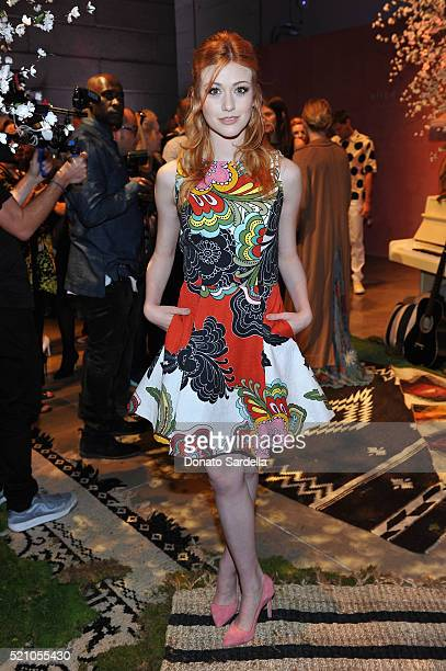 Actress Katherine McNamara attends the alice olivia by Stacey Bendet and Neiman Marcus present SeeNowBuyNow Runway Show at NeueHouse Los Angeles on...