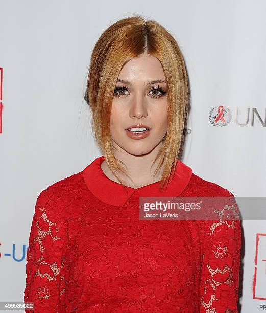 Actress Katherine McNamara attends the inaugural World AIDS Day benefit at Sofitel Hotel on December 1 2015 in Los Angeles California