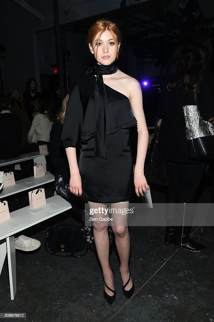 Actress Katherine Mcnamara attends the Jill Stuart fashion show during Fall 2016 New York Fashion Week at Industria Superstudio on February 13, 2016 in New York City.