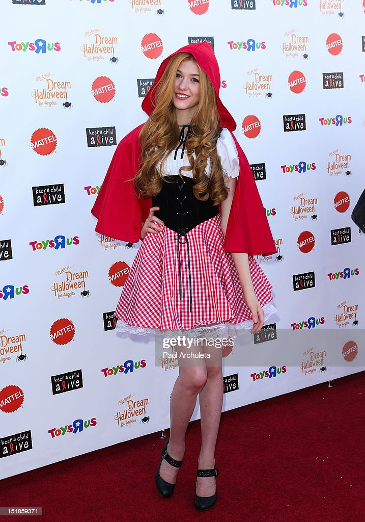 Actress Katherine McNamara attends the Keep A Child Alive 2012 Dream Halloween Los Angeles charity event at Barker Hangar on October 27, 2012 in Santa Monica, California.