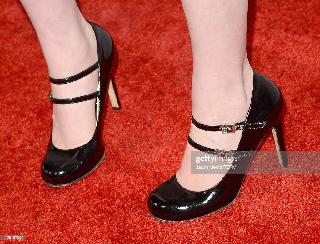 Actress Katherine McNamara (shoe detail) attends the Los Angeles premiere of Summit Entertainment's 'The Impossible' at ArcLight Cinemas Cinerama Dome on December 10, 2012 in Hollywood, California.