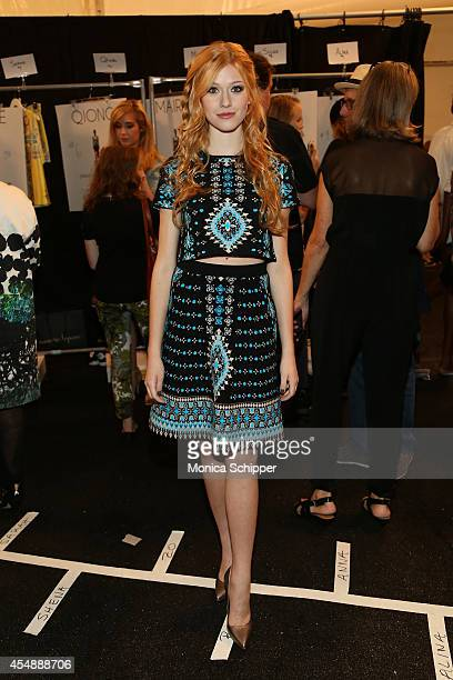 Actress Katherine McNamara poses backstage at the Nanette Lepore fashion show during MercedesBenz Fashion Week Spring 2015 at The Salon at Lincoln...
