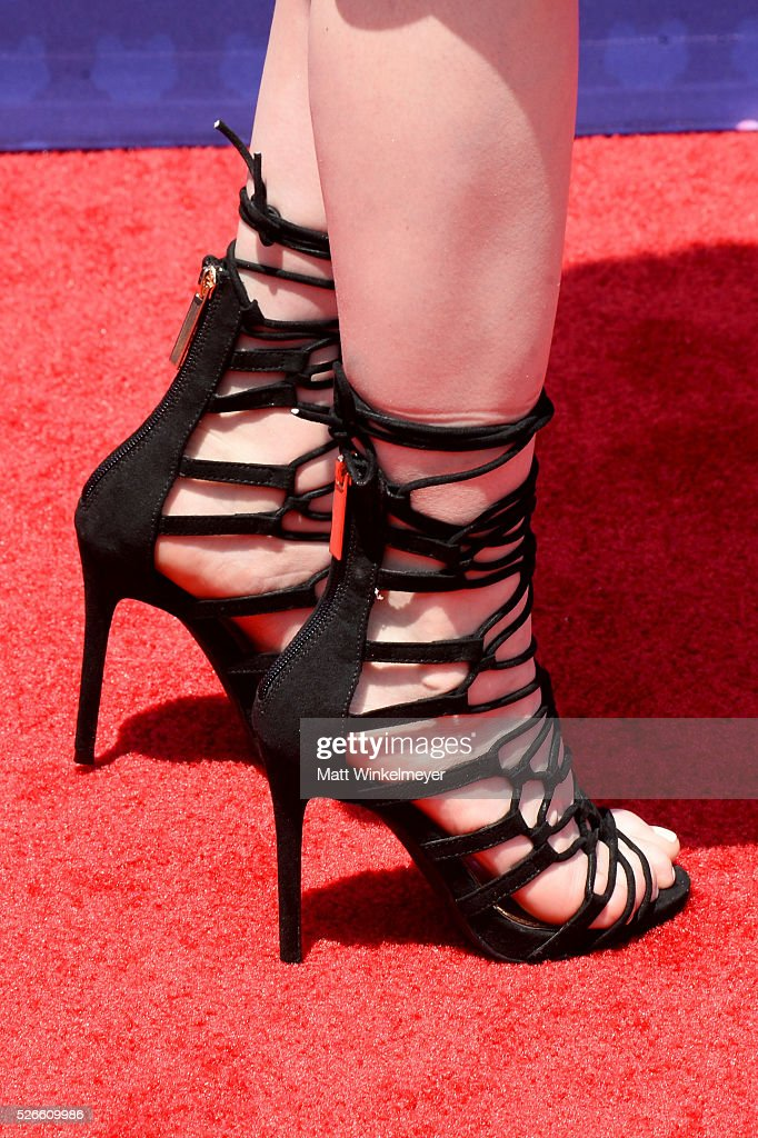Actress <a gi-track='captionPersonalityLinkClicked' href=/galleries/search?phrase=Katherine+McNamara&family=editorial&specificpeople=6829207 ng-click='$event.stopPropagation()'>Katherine McNamara</a>, shoe detail, attends the 2016 Radio Disney Music Awards at Microsoft Theater on April 30, 2016 in Los Angeles, California.