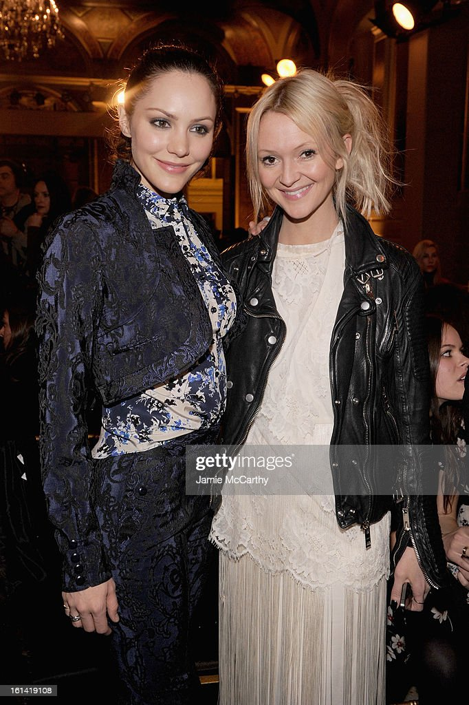 Actress Katherine McPhee (L) and Marie Claire fashion editor Zanna Roberts Rassi attend the Zac Posen Fall 2013 fashion show during Mercedes-Benz Fashion Week on February 10, 2013 in New York City.