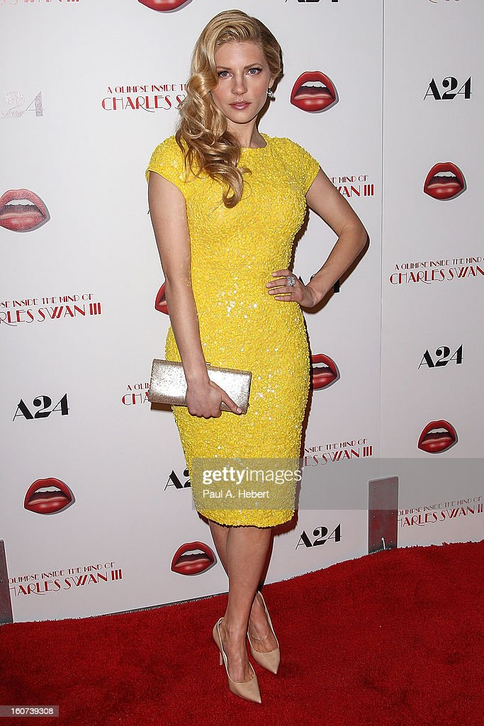 Actress <a gi-track='captionPersonalityLinkClicked' href=/galleries/search?phrase=Katheryn+Winnick&family=editorial&specificpeople=663983 ng-click='$event.stopPropagation()'>Katheryn Winnick</a> arrives at the premiere of A24's 'A Glimpse Inside The Mind of Charles Swan III' held at the ArcLight Hollywood on February 4, 2013 in Hollywood, California.