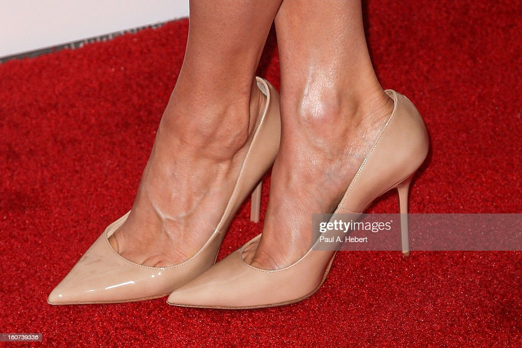 Actress Katheryn Winnick (shoe detail) arrives at the premiere of A24's 'A Glimpse Inside The Mind of Charles Swan III' held at the ArcLight Hollywood on February 4, 2013 in Hollywood, California.