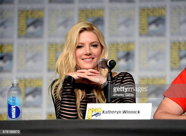 Actress Katheryn Winnick attends the 'Vikings' panel during ComicCon International 2016 at San Diego Convention Center on July 22 2016 in San Diego...