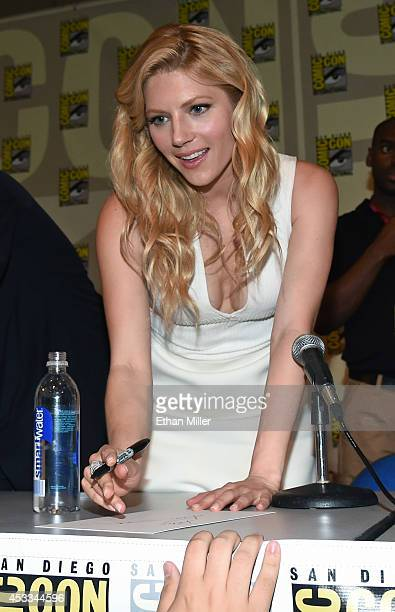 Actress Katheryn Winnick greets fans during a panel for the History series 'Vikings' during ComicCon International 2014 at the San Diego Convention...