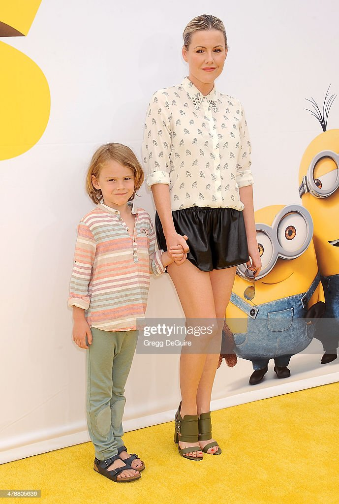 Actress Kathleen Robertson and son William Cowles arrive at the premiere of Universal Pictures and Illumination Entertainment's 'Minions' at The Shrine Auditorium on June 27, 2015 in Los Angeles, California.