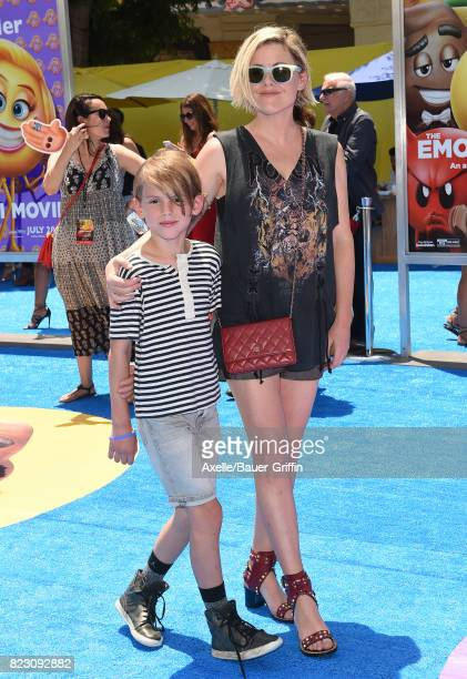 Actress Kathleen Robertson and son William Robert Cowles arrive at the premiere of 'The Emoji Movie' at Regency Village Theatre on July 23 2017 in...