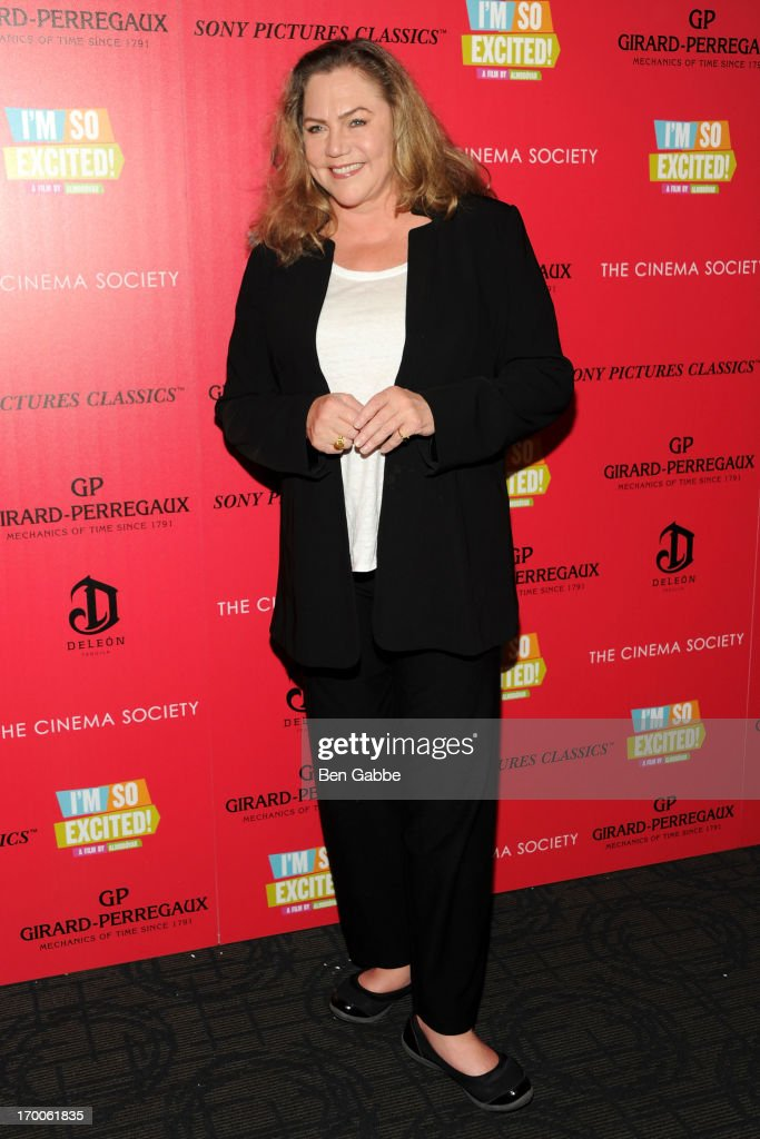 Actress <a gi-track='captionPersonalityLinkClicked' href=/galleries/search?phrase=Kathleen+Turner&family=editorial&specificpeople=202649 ng-click='$event.stopPropagation()'>Kathleen Turner</a> attends a screening of Sony Pictures Classics' 'I'm So Excited' hosted by Girard-Perregaux and The Cinema Society with DeLeon at Sunshine Landmark on June 6, 2013 in New York City.