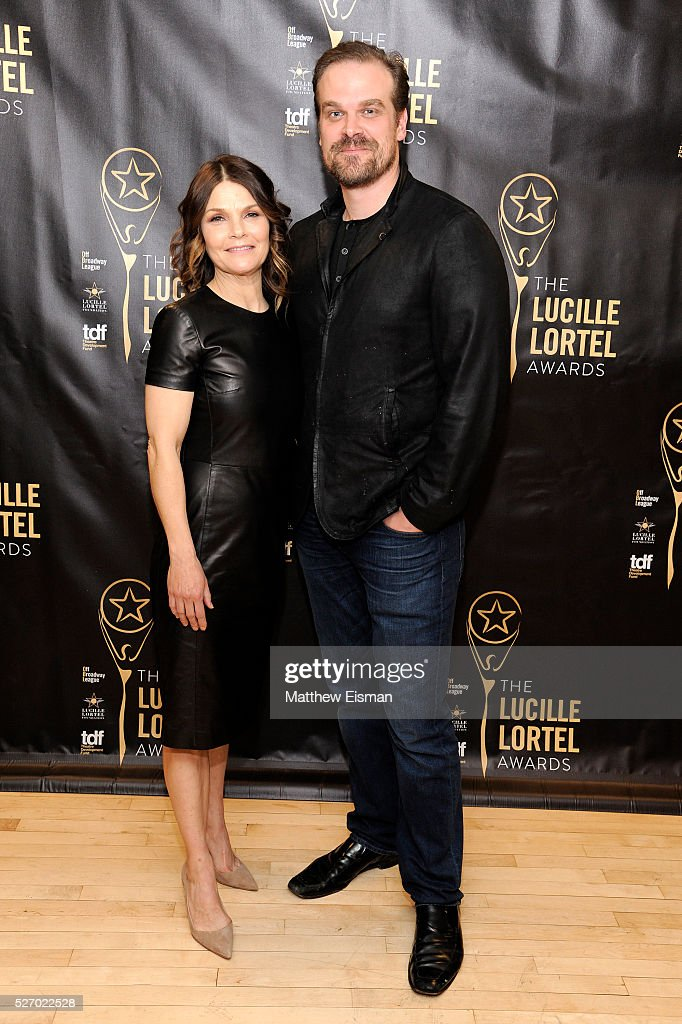 Actress <a gi-track='captionPersonalityLinkClicked' href=/galleries/search?phrase=Kathryn+Erbe&family=editorial&specificpeople=657667 ng-click='$event.stopPropagation()'>Kathryn Erbe</a> and actor David Harbour arrive at the 31st Annual Lucille Lortel Awards at NYU Skirball Center on May 1, 2016 in New York City.