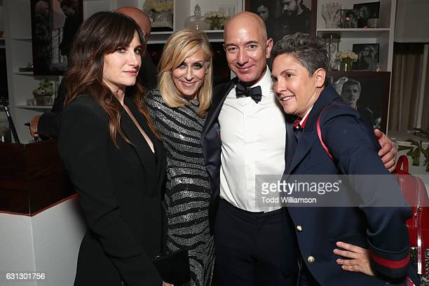 Actress Kathryn Hahn actress Judith Light Amazon CEO Jeff Bezos and producer Jill Soloway attend Amazon Studios Golden Globes Celebration at The...