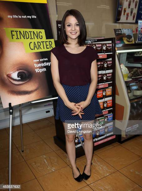 Actress Kathryn Prescott attends the MTV's 'Finding Carter' fan event at BaskinRobbins on August 12 2014 in Burbank California