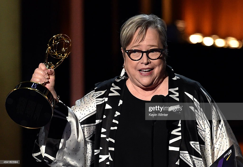 Actress Kathy Bates accepts Outstanding Supporting Actress in a Miniseries or Movie for 'American Horror Story Coven' onstage at the 66th Annual...