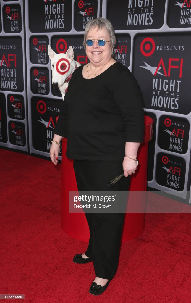 Actress <a gi-track='captionPersonalityLinkClicked' href=/galleries/search?phrase=Kathy+Bates+-+Atriz&family=editorial&specificpeople=171565 ng-click='$event.stopPropagation()'>Kathy Bates</a> arrives on the red carpet for Target Presents AFI's Night at the Movies at ArcLight Cinemas on April 24, 2013 in Hollywood, California.