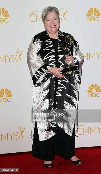 Actress Kathy Bates poses in the press room at the 66th Annual Primetime Emmy Awards at the Nokia Theatre LA Live on August 25 2014 in Los Angeles...