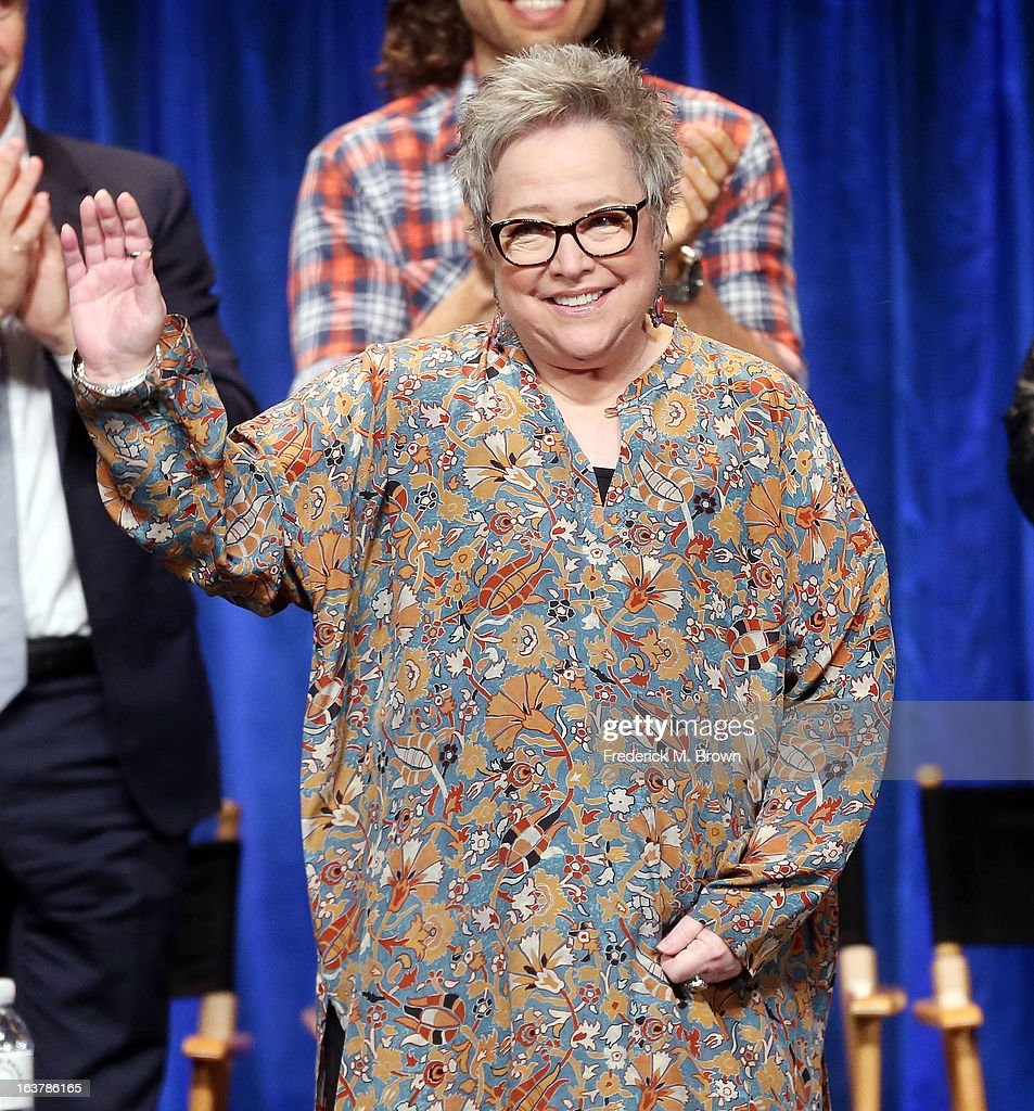 Actress <a gi-track='captionPersonalityLinkClicked' href=/galleries/search?phrase=Kathy+Bates+-+Actrice&family=editorial&specificpeople=171565 ng-click='$event.stopPropagation()'>Kathy Bates</a> speaks during The Paley Center For Media's PaleyFest 2013 Honoring 'American Horror Story: Asylum' at the Saban Theatre on March 15, 2013 in Beverly Hills, California.