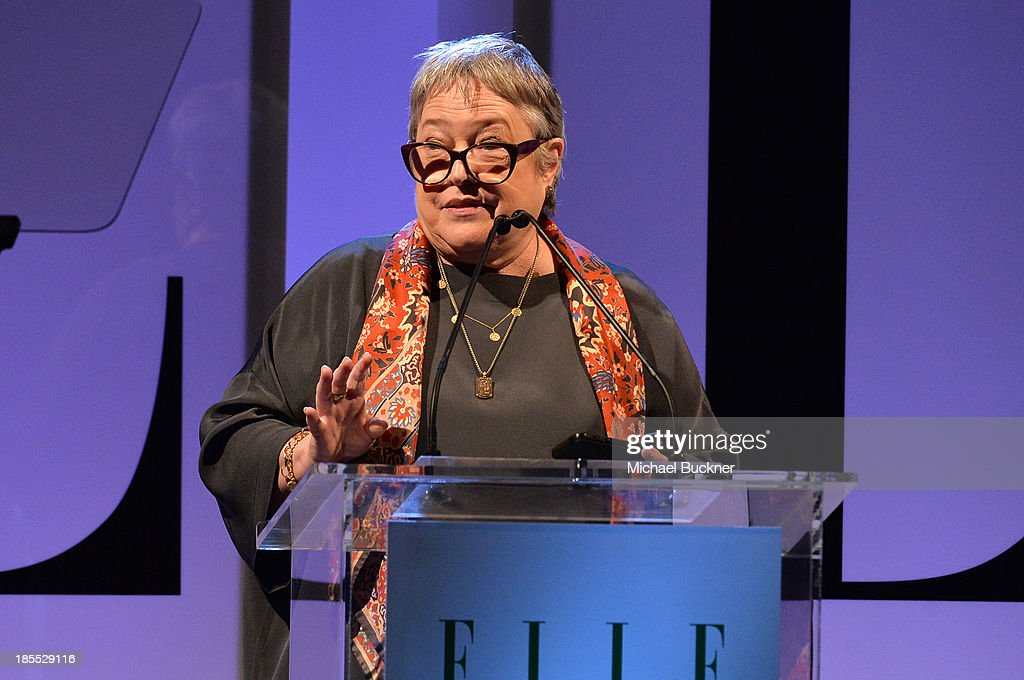 Actress <a gi-track='captionPersonalityLinkClicked' href=/galleries/search?phrase=Kathy+Bates+-+Actor&family=editorial&specificpeople=171565 ng-click='$event.stopPropagation()'>Kathy Bates</a> speaks onstage at ELLE's 20th Annual Women In Hollywood Celebration at Four Seasons Hotel Los Angeles at Beverly Hills on October 21, 2013 in Beverly Hills, California.