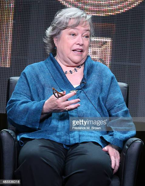 Actress Kathy Bates speaks onstage during the 'AHS Hotel' panel discussion at the FX portion of the 2015 Summer TCA Tour at The Beverly Hilton Hotel...