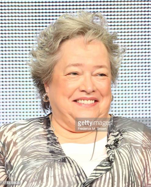 Actress Kathy Bates speaks onstage during the 'American Horror Story Coven' panel discussion at the FX portion of the 2013 Summer Television Critics...