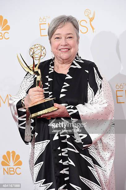 Actress Kathy Bates winner of the Outstanding Supporting Actress in a Miniseries or Movie Award for American Horror Story Coven poses in the press...