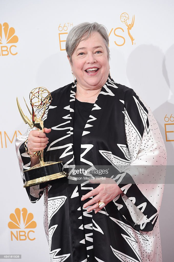 Actress Kathy Bates , winner of the Outstanding Supporting Actress in a Miniseries or Movie Award for American Horror Story: Coven, poses in the press room during the 66th Annual Primetime Emmy Awards held at Nokia Theatre L.A. Live on August 25, 2014 in Los Angeles, California.