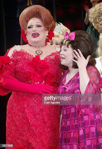 Actress Kathy Brier who has taken over a lead role in the Broadway Musical 'Hairspray' is congratulated by her stage costars Harvey Fierstein as well...