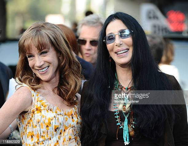 Actress Kathy Griffin and Singer Cher arrive at the premiere of 'The Zookeeper' at the Regency Village Theatre on July 6 2011 in Los Angeles...