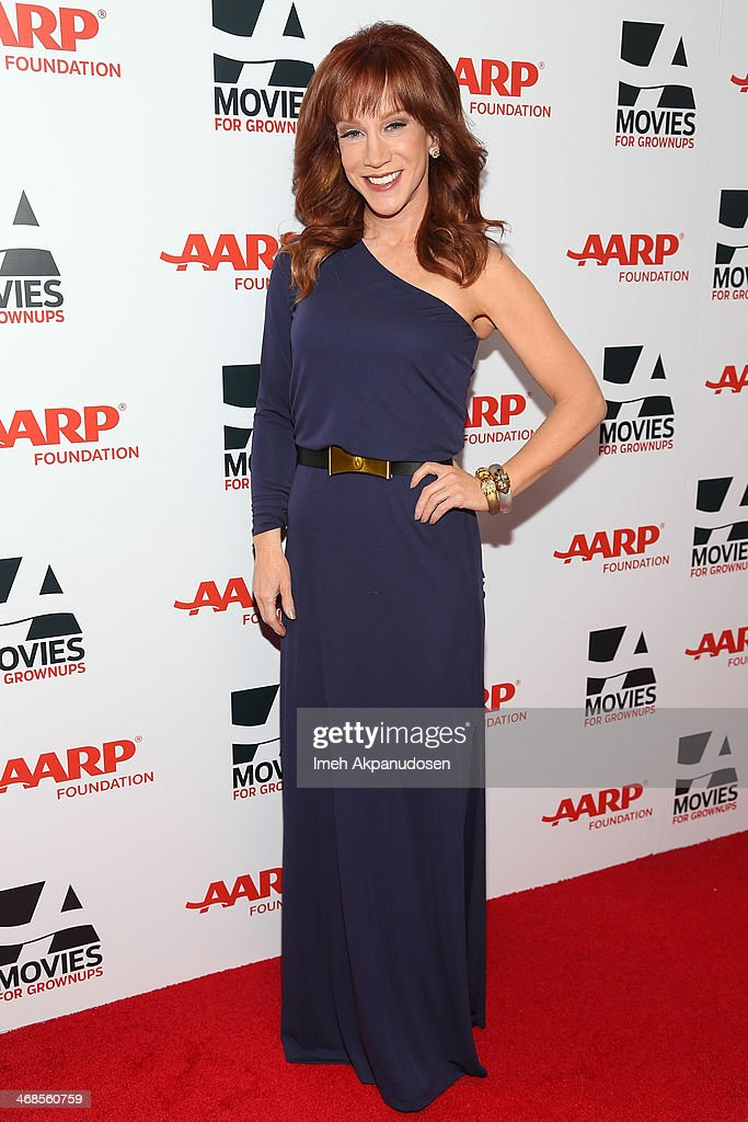 Actress <a gi-track='captionPersonalityLinkClicked' href=/galleries/search?phrase=Kathy+Griffin&family=editorial&specificpeople=203161 ng-click='$event.stopPropagation()'>Kathy Griffin</a> attends the 13th Annual AARP's Movies For Grownups Awards Gala at Regent Beverly Wilshire Hotel on February 10, 2014 in Beverly Hills, California.