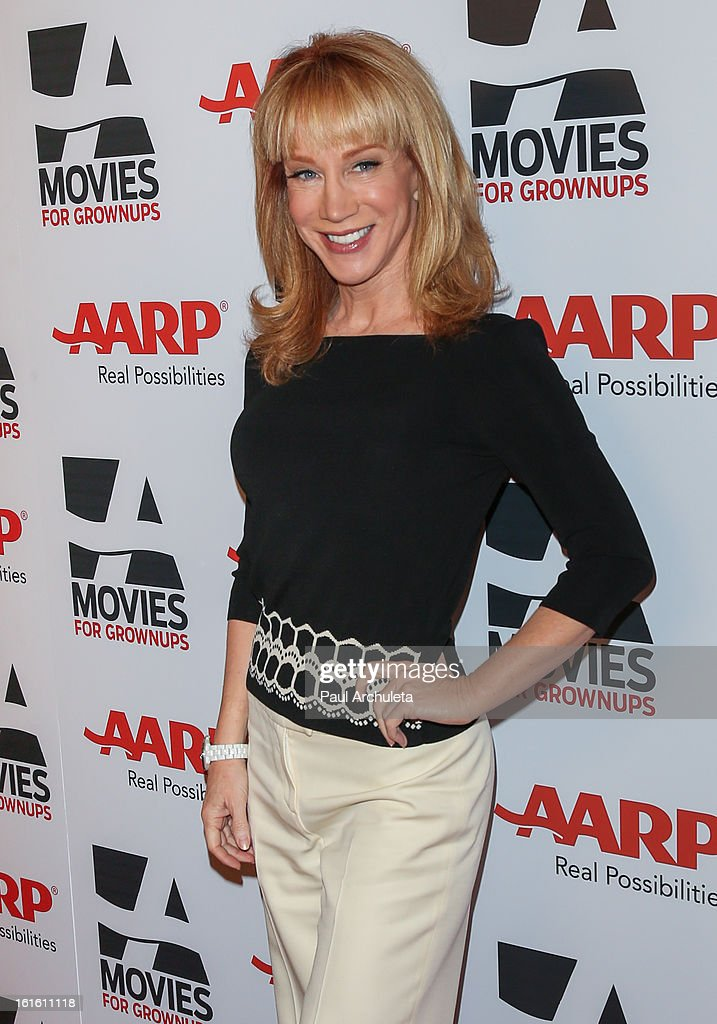 Actress <a gi-track='captionPersonalityLinkClicked' href=/galleries/search?phrase=Kathy+Griffin&family=editorial&specificpeople=203161 ng-click='$event.stopPropagation()'>Kathy Griffin</a> attends the AARP Magazine's 12th annual Movies For Grownups Awards luncheon at the Peninsula Hotel on February 12, 2013 in Beverly Hills, California.