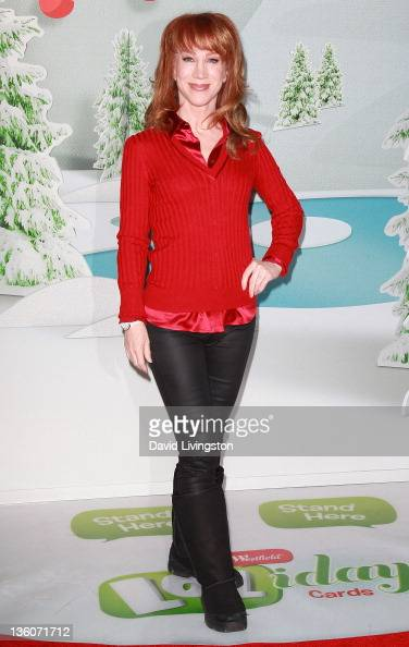 Actress Kathy Griffin makes 'LOLiday Cards' with holiday shoppers at Westfield Culver City shopping mall on December 18 2011 in Culver City California