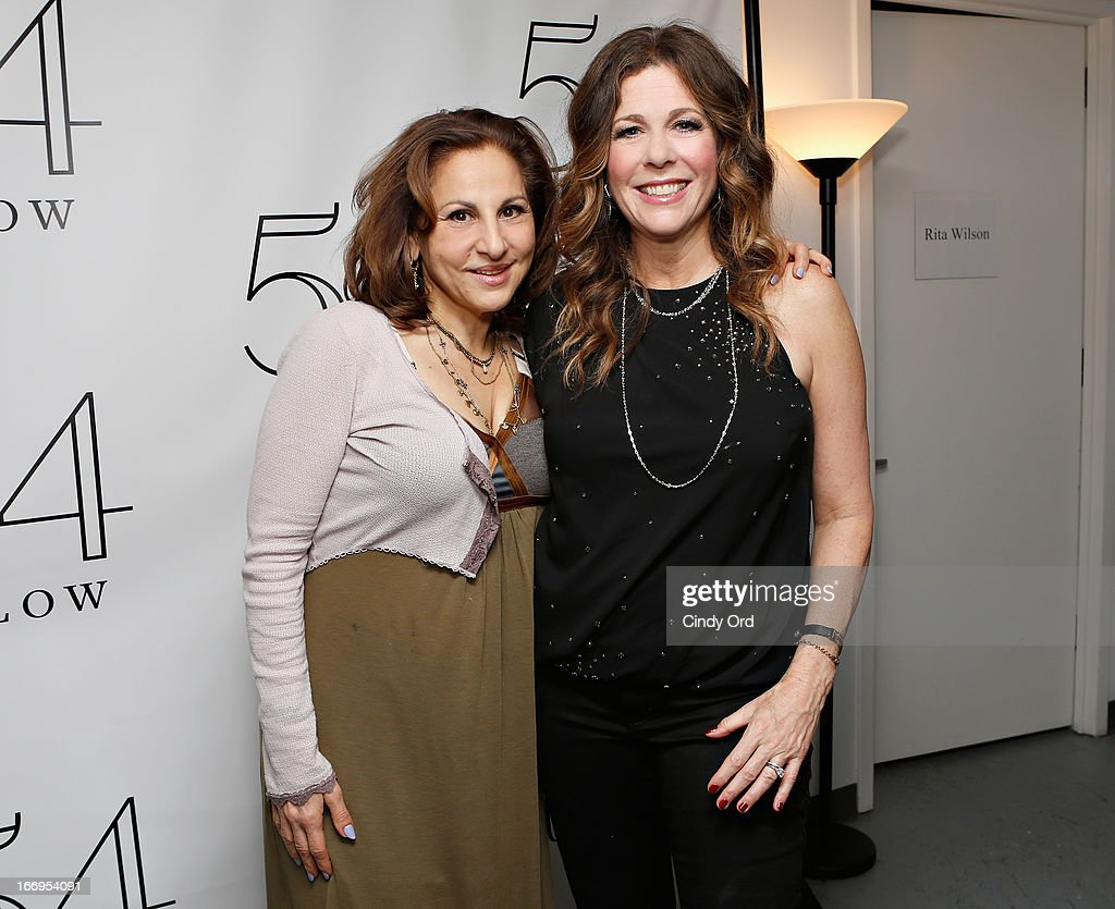 Actress <a gi-track='captionPersonalityLinkClicked' href=/galleries/search?phrase=Kathy+Najimy&family=editorial&specificpeople=213513 ng-click='$event.stopPropagation()'>Kathy Najimy</a> poses with actress/ singer Rita Wilson (C) following her performance at 54 Below on April 18, 2013 in New York City.