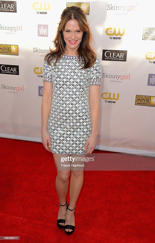 Actress Katie Aselton arrives at the 18th Annual Critics' Choice Movie Awards at Barker Hangar on January 10, 2013 in Santa Monica, California.