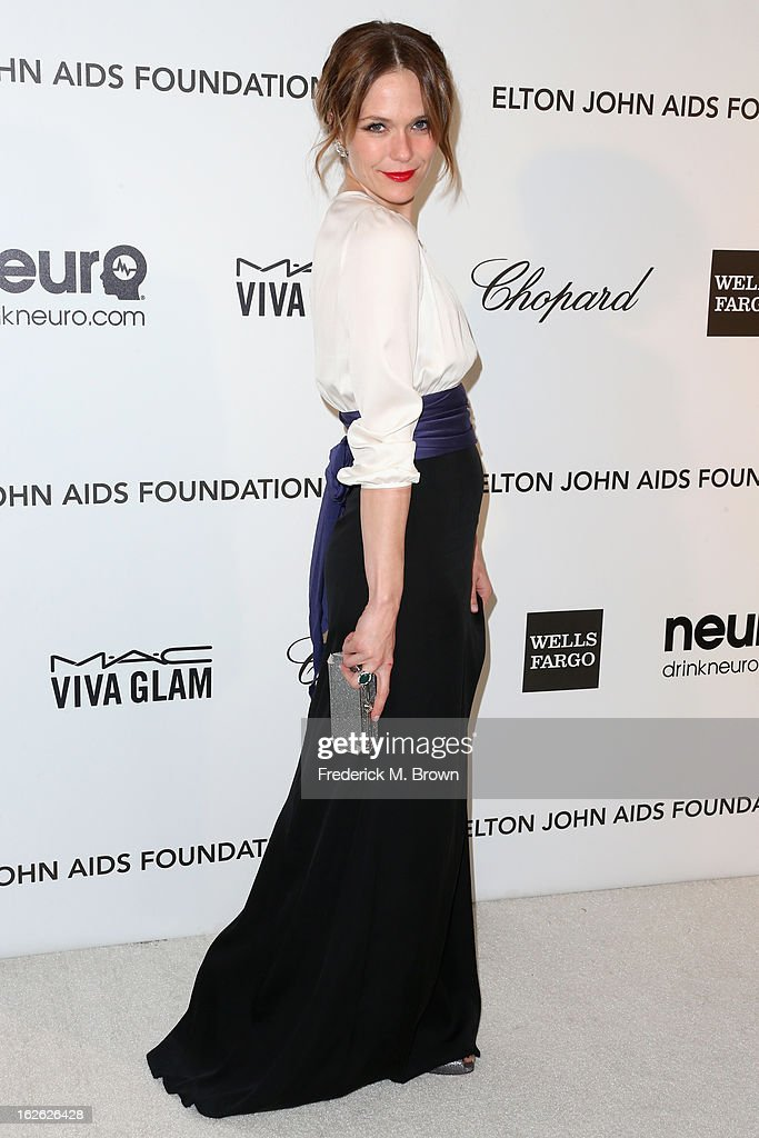 Actress Katie Aselton arrives at the 21st Annual Elton John AIDS Foundation's Oscar Viewing Party on February 24, 2013 in Los Angeles, California.