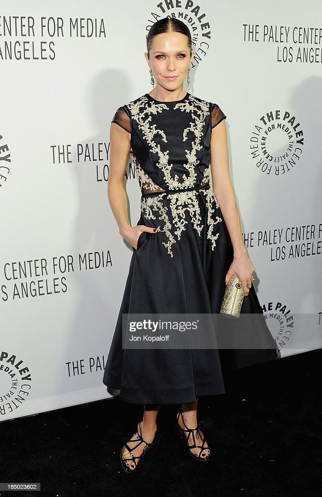 Actress <a gi-track='captionPersonalityLinkClicked' href=/galleries/search?phrase=Katie+Aselton&family=editorial&specificpeople=6457083 ng-click='$event.stopPropagation()'>Katie Aselton</a> arrives at The Paley Center for Media Hosts 2013 Benefit Gala Honoring FX Networks on October 16, 2013 in Los Angeles, California.