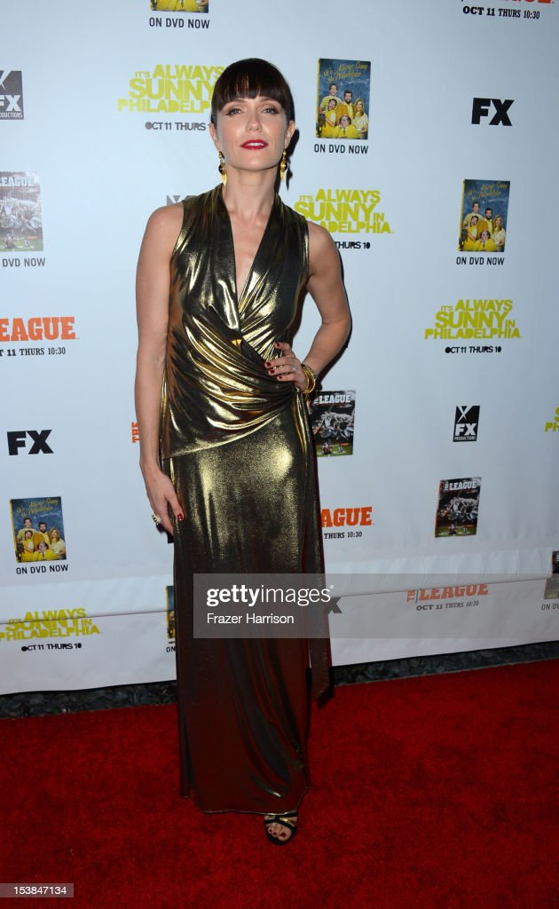 Actress Katie Aselton arrives at the Premiere Screenings of FX's 'It's Always Sunny In Philadelphia' Season 8 and 'The League' Season 4 at ArcLight Cinemas Cinerama Dome on October 9, 2012 in Hollywood, California.