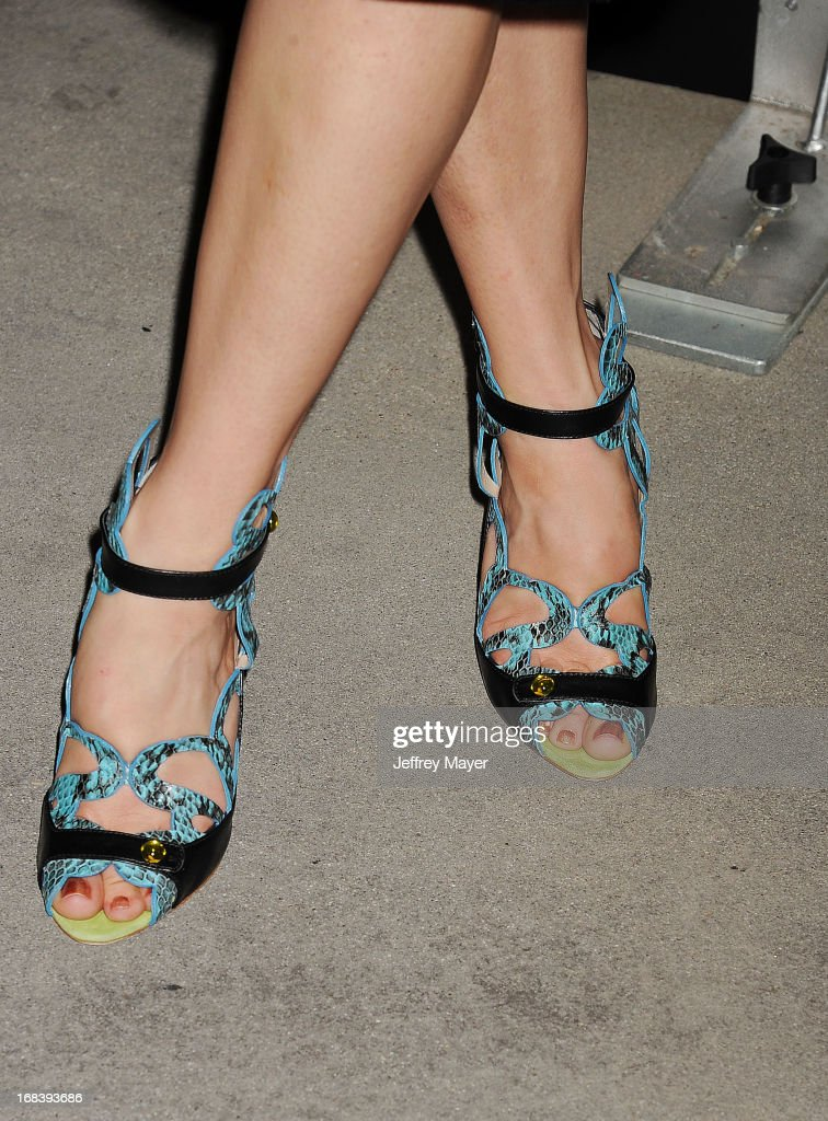 Actress Katie Aselton (shoe detail) at the 'Black Rock' Premiere held at ArcLight Hollywood on May 8, 2013 in Hollywood, California.