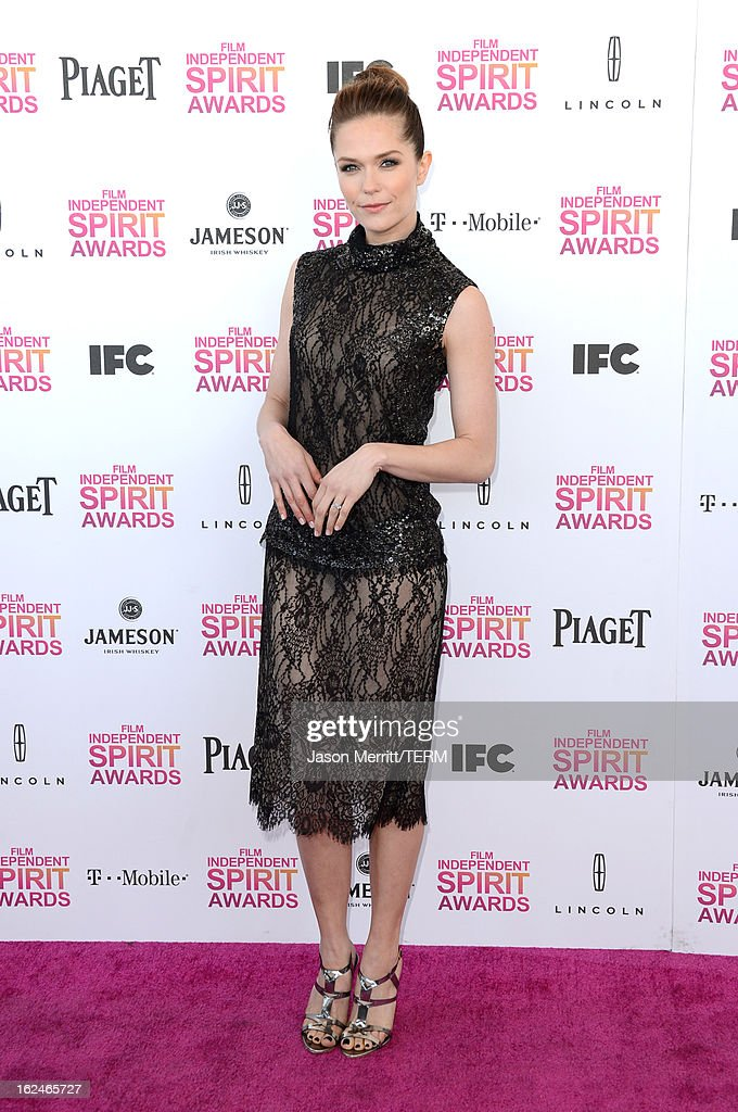 Actress Katie Aselton attends the 2013 Film Independent Spirit Awards at Santa Monica Beach on February 23, 2013 in Santa Monica, California.