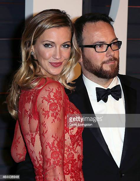 Actress Katie Cassidy and producer Dana Brunetti attend the 2015 Vanity Fair Oscar Party hosted by Graydon Carter at the Wallis Annenberg Center for...
