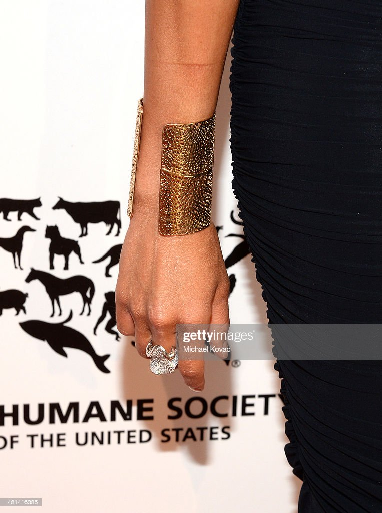 Actress Katie Cleary (jewerly detail) attends the Humane Society of The United States 60th Anniversary Gala at The Beverly Hilton Hotel on March 29, 2014 in Beverly Hills, California.