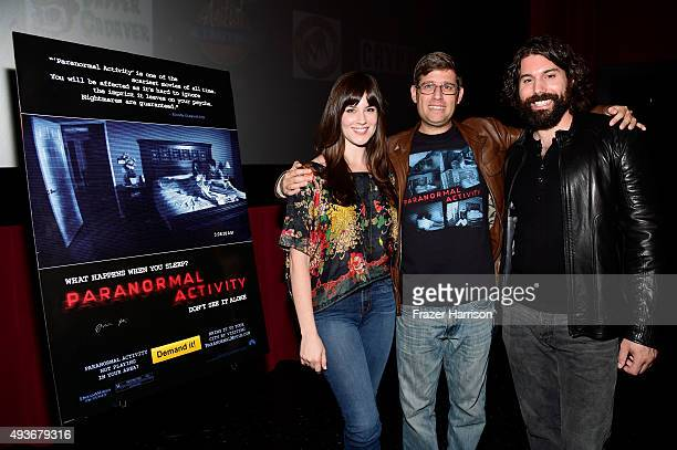 Actress Katie Featherton filmmaker Oren Peli and actor Micah Sloat attend a screening and QA at Screamfest for the Original Paranormal Activity at...